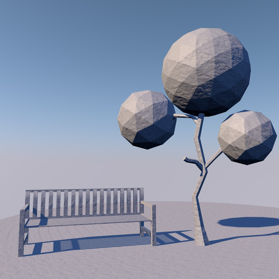 Free Cinema 4D tree and bench